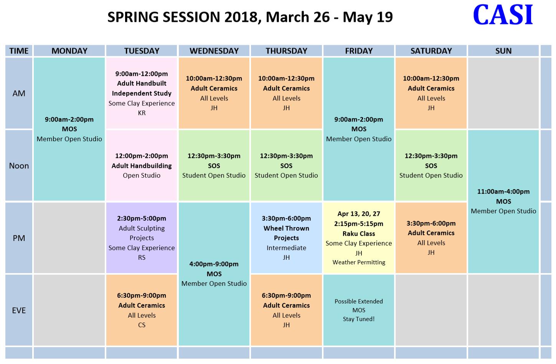 CASI 2018 Spring schedule