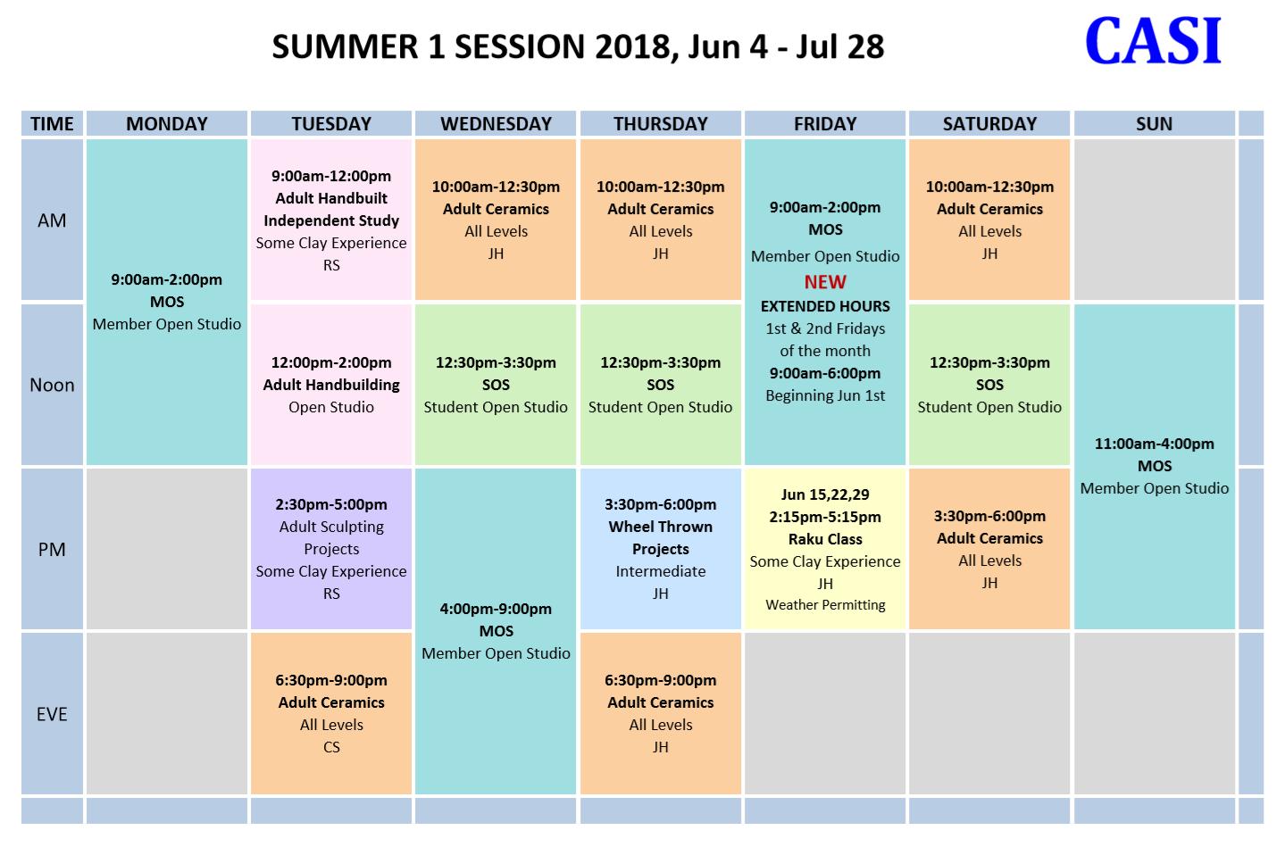 CASI 2018 Summer 1 sched