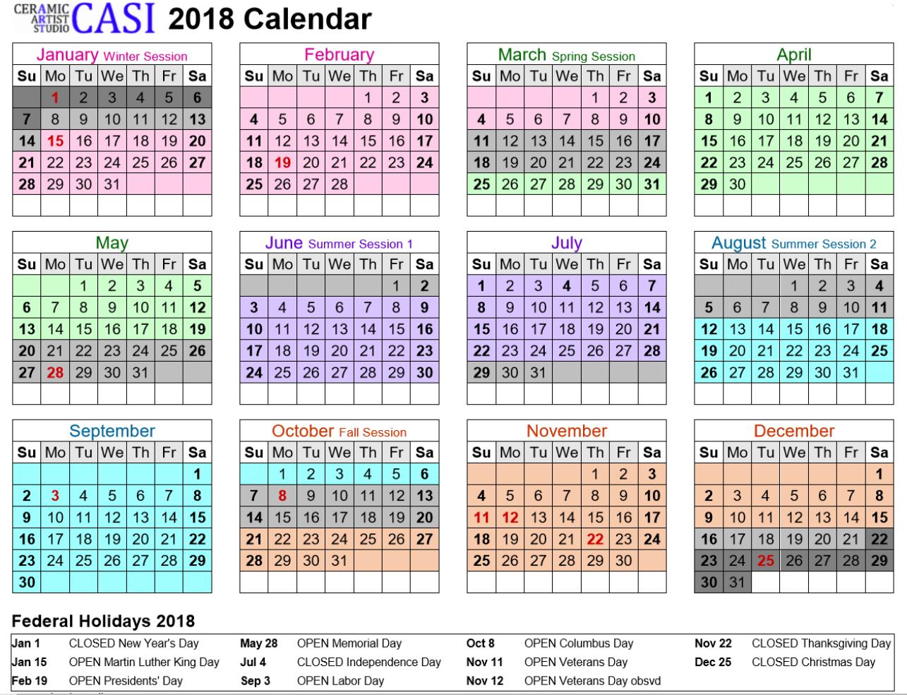 CASI 2018 year calendar