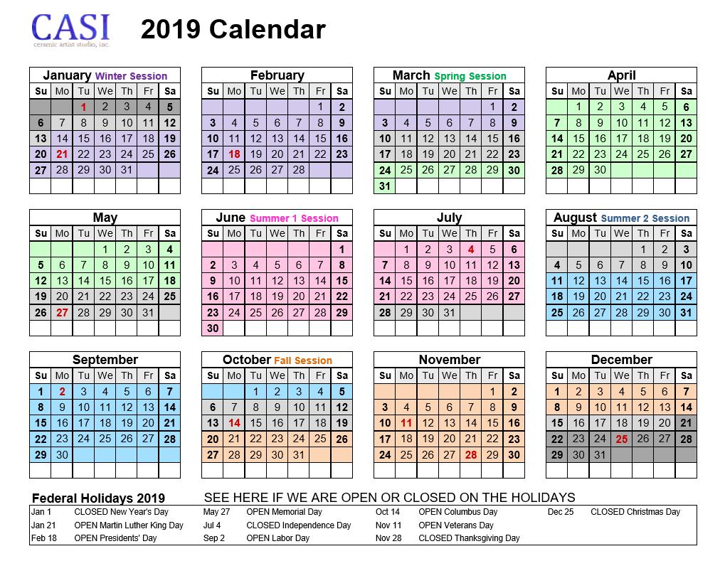 CASI 2019 Year Calendar