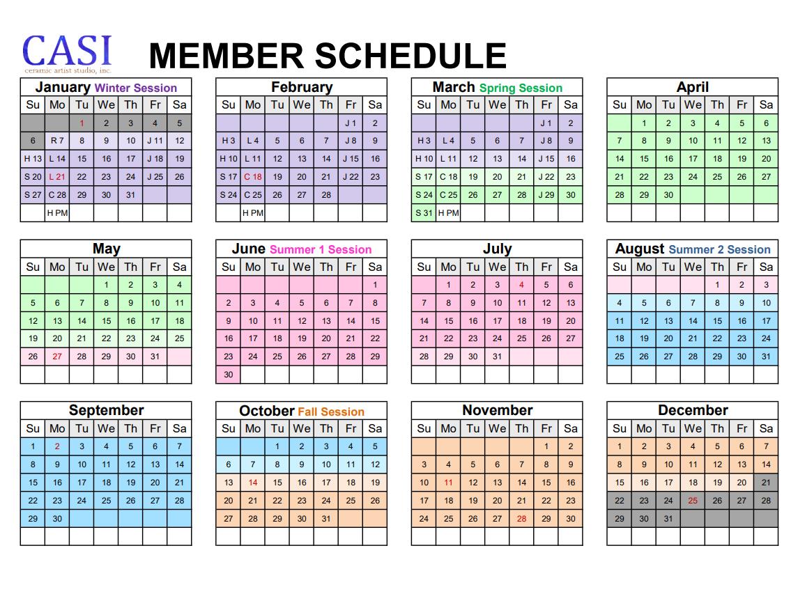 CASI Members 2019 Year Calendar